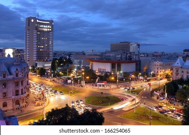 Aerial view at twilight of University Square (Piata Universitatii), Bucharest, Romania. This square is considered to be one of the focal points of the city.