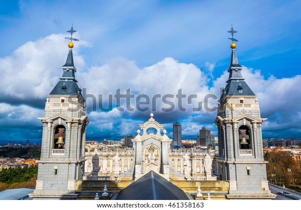 aerial view of twin towers of the Almudena cathedral in Madrid