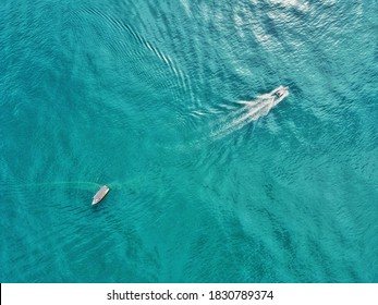 Aerial view of two fishermen's boats on open sea