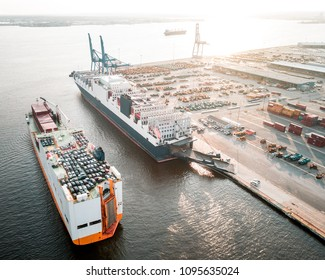 Aerial view of two roll on roll off ships in Baltimore Harbor