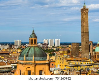 Aerial view of the two towers in the city of Bologna, Italy (vibrant high dynamic range)