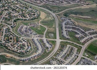 Aerial view of typical affordable tract housing development in Colorado Springs, Colorado