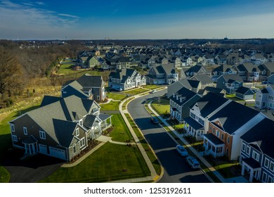 Aerial view of typical american colonial single family luxury home real estate for upper middle class families in the USA