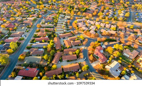Aerial view of a typical Australian suburb with autumn colours