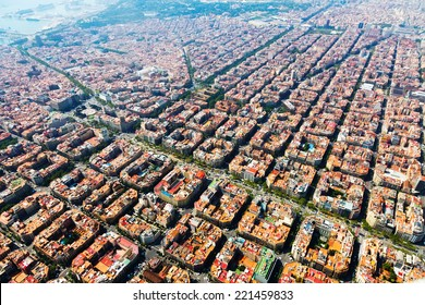 Aerial view of typical houses at Eixample residential district. Barcelona, Catalonia