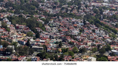 Aerial view of typical mexican middle class family living area
