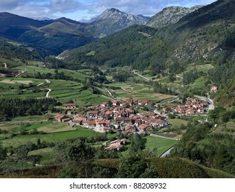 Aerial view of a typical town in Carmona, Cantabria, Spain
