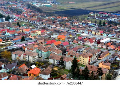 Aerial view. Typical urban landscape in the city Rupea-Reps. It was Dacian settlement (Rumidava) and later, during the Roman occupation, the name was changed to Rupes (rock or stone - in Latin).