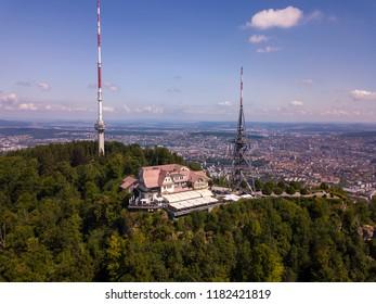 Aerial view of Uetliberg mountain in Zurich, Switzerland