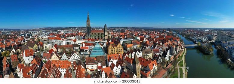Aerial view of Ulm Minster when the weather is nice