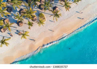 Aerial view of umbrellas, palms on the sandy beach, people, blue sea with waves at sunset. Summer holiday in Zanzibar, Africa. Tropical landscape with palm trees, parasols, white sand, ocean. Top view