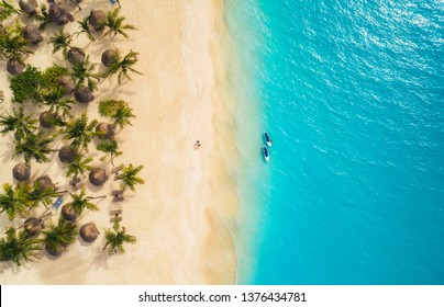 Aerial view of umbrellas, palms on the sandy beach and kayaks in the sea at sunset. Summer holiday in Zanzibar, Africa. Tropical landscape with palm trees, parasols, boat, sand, blue water. Top view