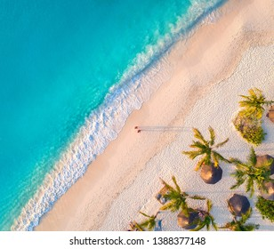 Aerial view of umbrellas, palms on the sandy beach of Indian Ocean at sunset. Summer in Zanzibar, Africa. Tropical landscape with palm trees, parasols, walking people, blue water, waves. Top view