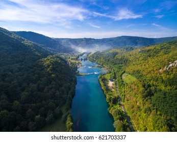 Aerial view of  Una river surrounded by forest and hills, Bosnia and Herzegovina.
