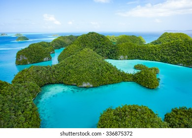 Aerial view of Unesco World Natural Heritage islands of Palau with turquoise blue water, Seventy Islands, Micronesia