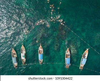 Aerial view of unidentified tourists snorkeling activity at Jabang pinnacle, Lipe Island, Thailand.