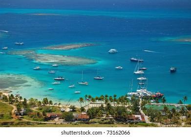 Aerial view of Union Island yacht club lagoon