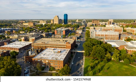 Aerial view university campus area looking into the city center urban core of downtown Lexington KY - Shutterstock ID 1541574968