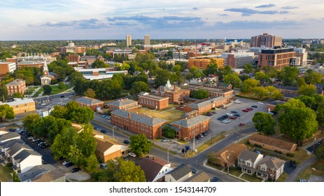 Aerial view university campus area looking into the city suberbs in Lexington KY - Shutterstock ID 1543144709