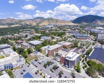 Aerial view of University of Utah in Salt Lake City, Utah, USA.