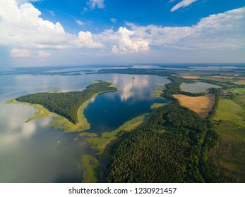 Aerial view of Upalty island on Mamry Lake, Mazury, Poland. Upalty is the biggest Masurian island.