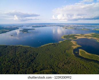 Aerial view of Upalty island on Mamry Lake, Mazury, Poland. Upalty is the biggest Masurian island