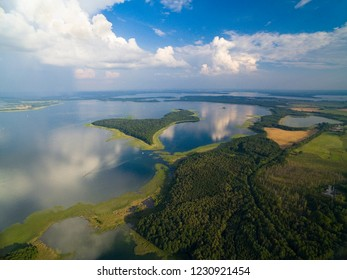 Aerial view of Upalty and Sosnowka islands on Mamry Lake, Mazury, Poland. Upalty is the biggest Masurian island.