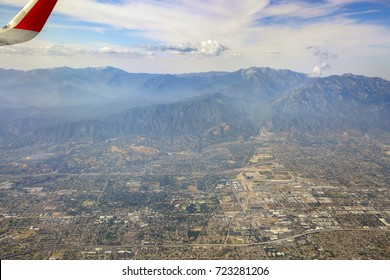 Aerial view of Upland, Claremont view from window seat in an airplane, California, U.S.A.