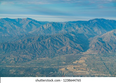 Aerial view of Upland, Rancho Cucamonga, view from window seat in an airplane, California, U.S.A.