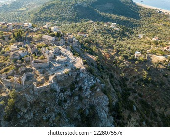 Aerial view of upper Himara ( A beautiful Albanian village on top of a cliff along the Albanian Riviera