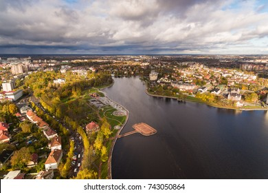 Aerial view of Upper Lake, Kaliningrad, autumn time