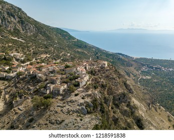 Aerial view of Upper Qeparo, Albania - Albanian Riviera (Himara)