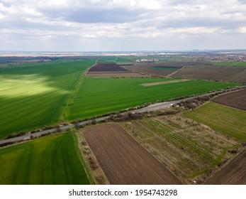 Aerial view of Upper Thracian Plain near town of Parvomay, Plovdiv Region,  Bulgaria