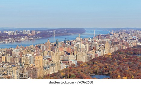 Aerial View of Upper West and George Washington Bridge in Manhattan, NY, USA
