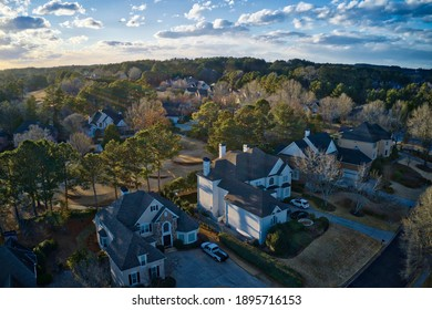Aerial view of an upscale sub division in suburbs of Atlanta