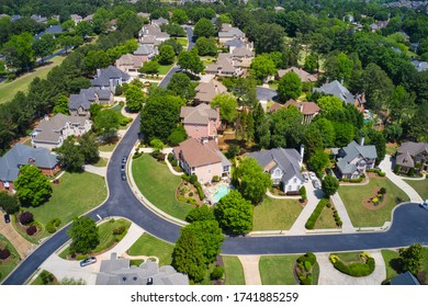 Aerial view of an upscale subdivision in Suburbs of USA