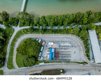 Aerial view of urban scene with river