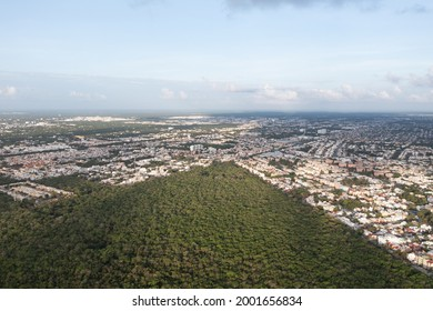 Aerial view of Urbano Kabah Park, a small nature reserve in Cancun, Mexico.