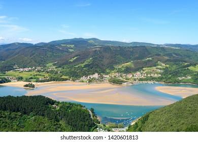 aerial view of urdaibai estuary at basque country coast, Spain