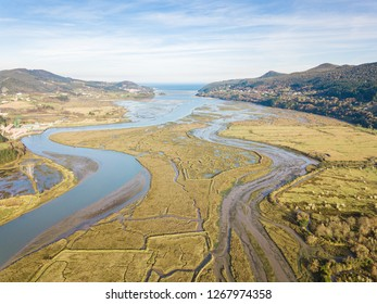 aerial view of urdaibai marshland in basque country
