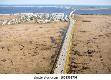 Aerial view of US 64 between Manteo and Nags Head North Carolina