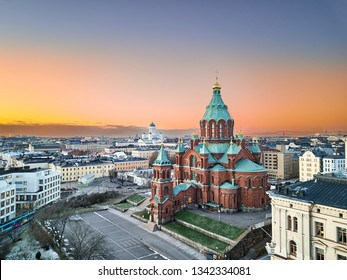 Aerial view of Uspenski Cathedral, St Nicholas' Church, beautiful sunset on the background, Helsinki, Finland.
