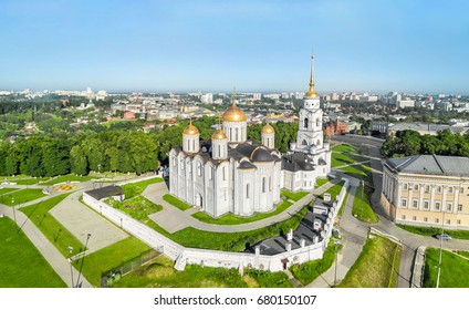 Aerial view of Uspenskiy cathedral in Vladimir, Russia