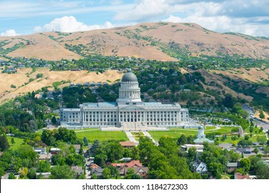 Aerial view of Utah State Capitol from the top of LDS Church Office Building in Salt Lake City, Utah, USA.