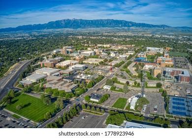 Aerial View of Utah State University in Logan