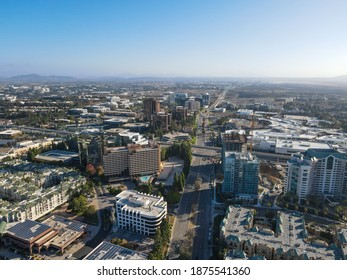 Aerial view of UTC, University City large residential and commercial district next to the University of California, San Diego, California, USA. December 1st, 2020