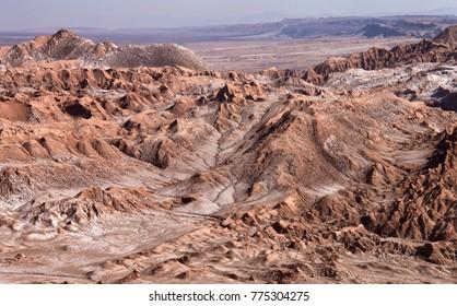 Aerial view of the Valley of the Dead near San Pedro de Atacama in the Atacama Desert in northern Chile.