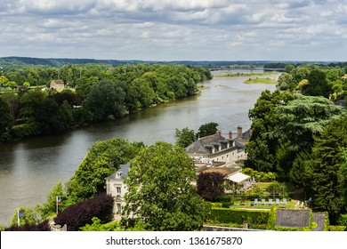 Aerial view of Valley of the river Loire and beautiful medieval town Amboise. France.