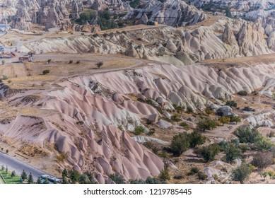Aerial view of valleys in Cappadocia, Turkey