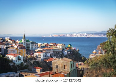Aerial view of Valparaiso with Lutheran Church from Cerro Carcel Hill - Valparaiso, Chile